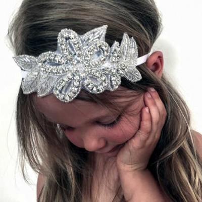 flower girl white silver crystal headband