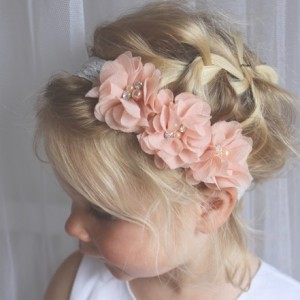 apricot peach baby lace headband