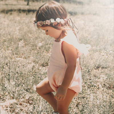 dusty pink vintage gold beige girls flower crown