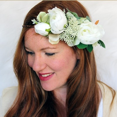 bride white rose silk flower crown