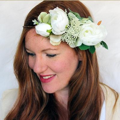 bride white rose silk flower crown
