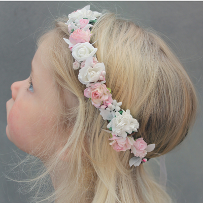 baby wedding pink flower crown