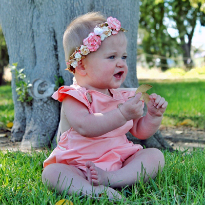 petite coral watermelon pink gold side set baby birthday flower crown
