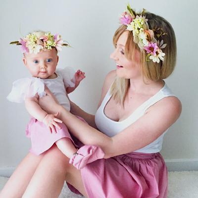 matching mummy baby flower crown wreath halo