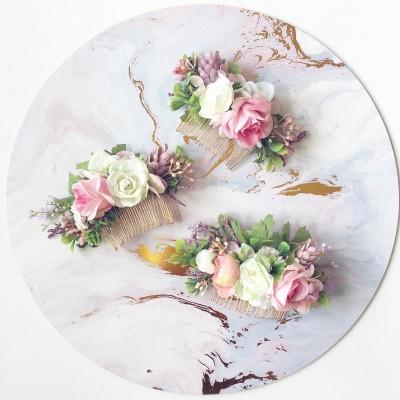 custom colour hair clips flowers