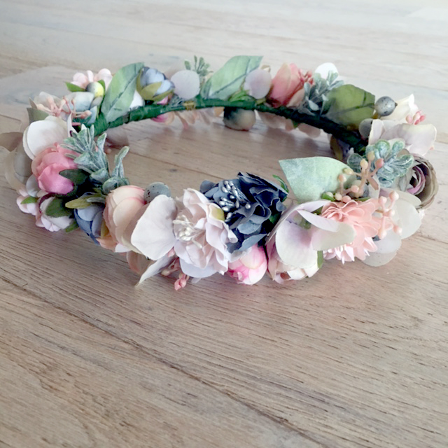 handmade pink grey floral crown