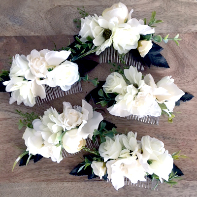 wedding party silk flower hair comb