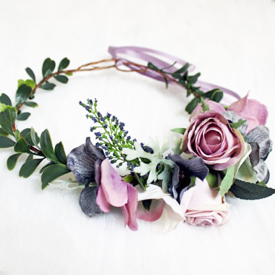 bohemian side set flower crown