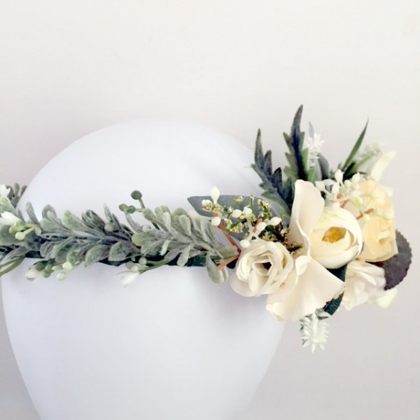 wedding day silk flower crown artificial life like