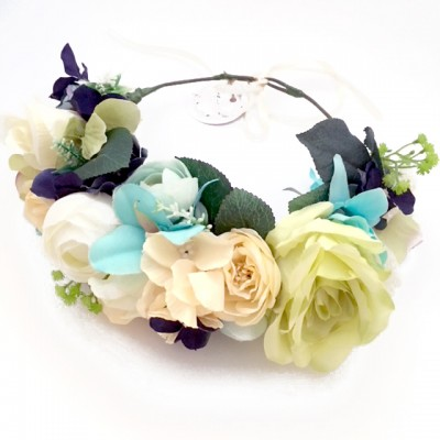 summer party floral crown green blue big