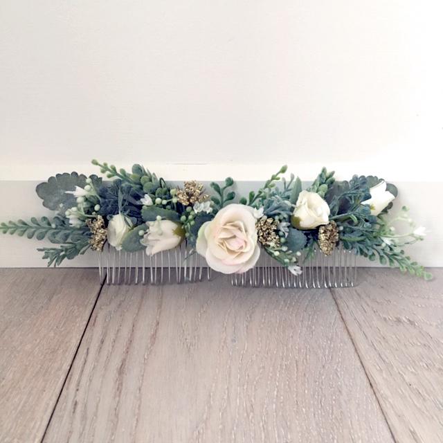 bride hair flowers fake
