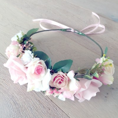 pink and white floral bridal wreath