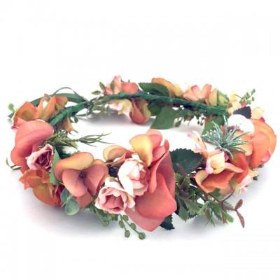 rust orange autumn floral head piece flower silk