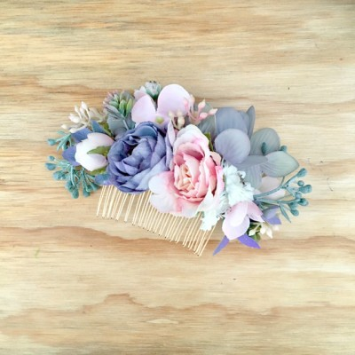 silk floral hair comb wedding