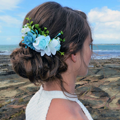 flower hair comb wedding hairstyle Australia