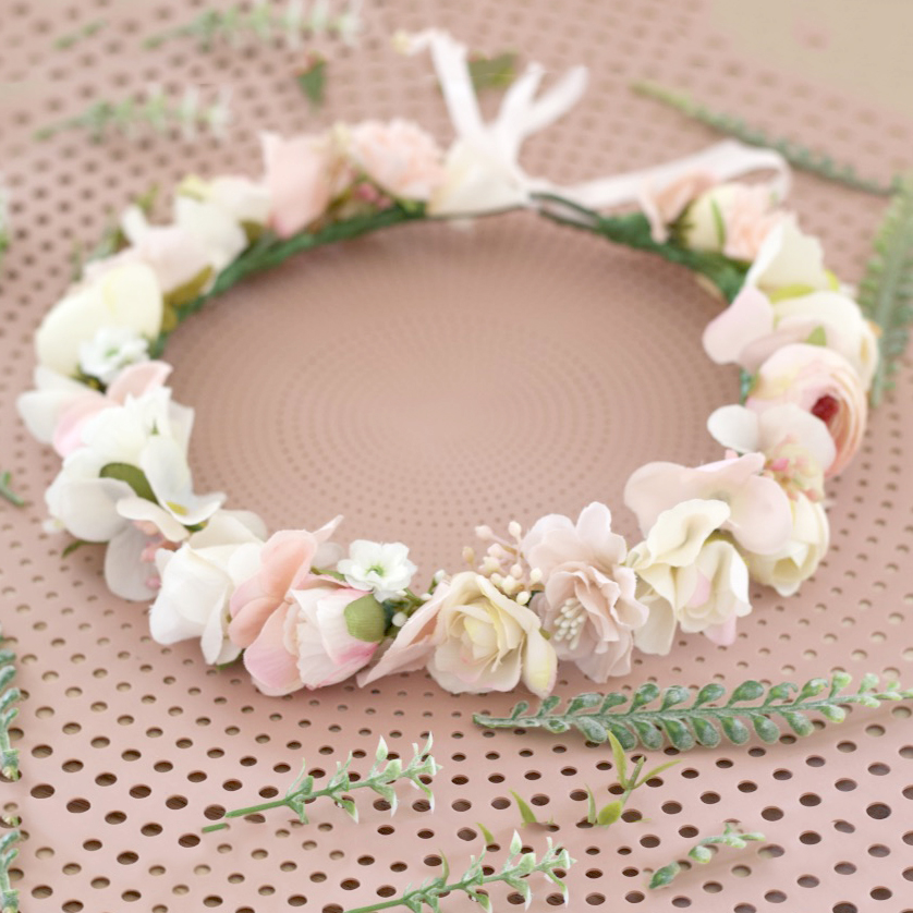 ivory pink flower crown