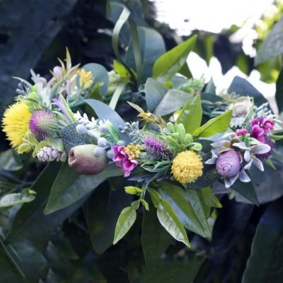 native leafy floral crown