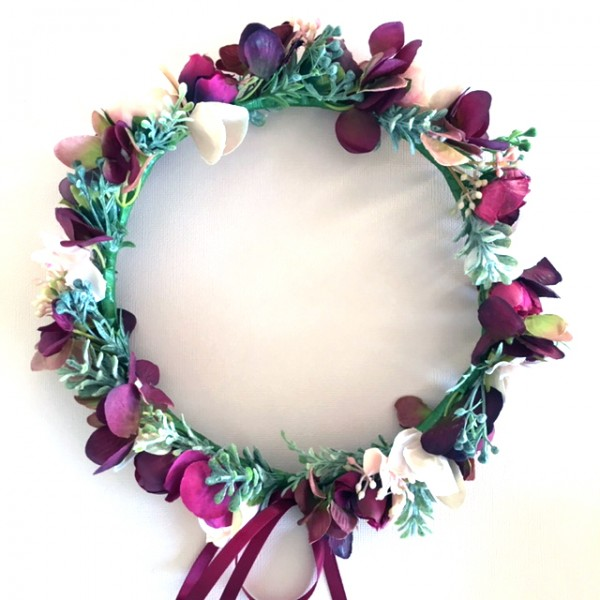 burgundy blush wedding flower crowns
