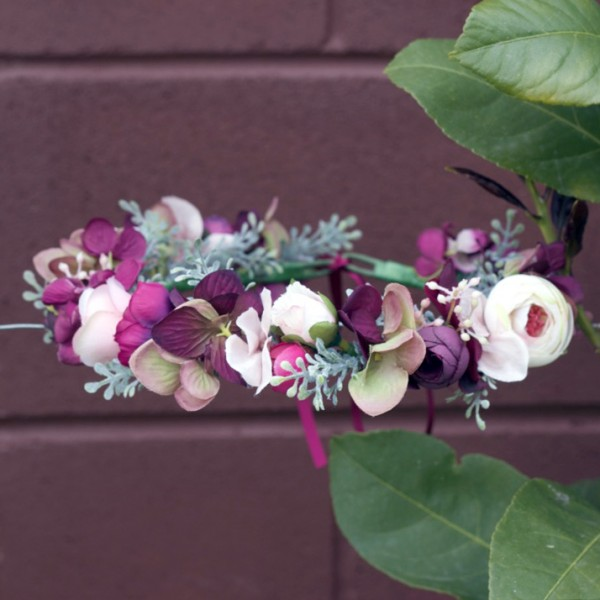 maroon silk flower crown