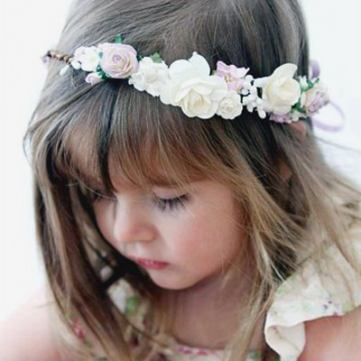 flower girl lilac ivory handmade floral crown wreath hair wedding
