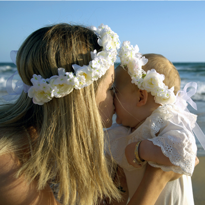 christening off white floral crown