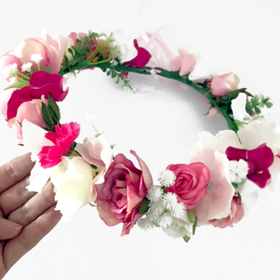 womens pink white floral crown hair wedding