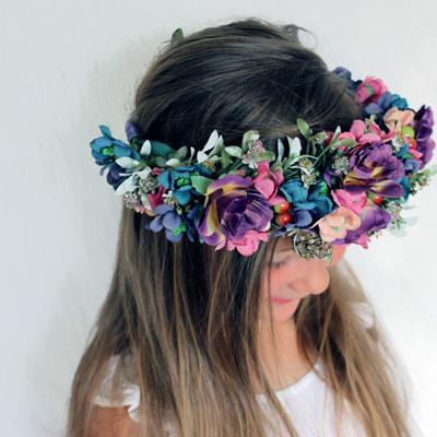 purple blue fake flower hair wreath crown australia girls