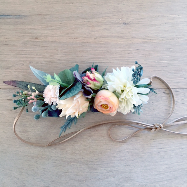 native silk flower leafy headband