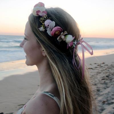 dusty pink gold vintage silk flowers hair womens headwear piece crown