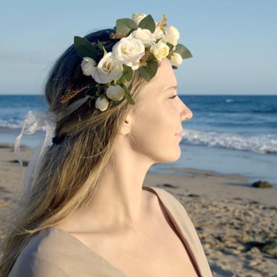 ivory bohemian beach flower crown