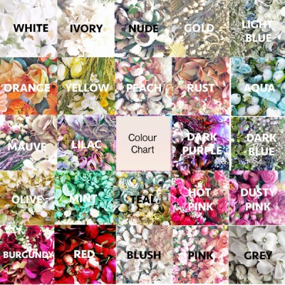 custom silk flower crown colour chart
