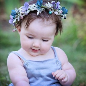 baby child girls womens jewel blue grey pearl floral tiara