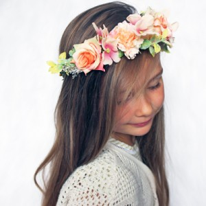 peach womens flower tiara