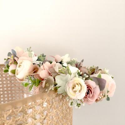blush sage floral crown wedding