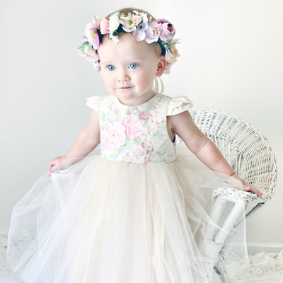 baby girl first birthday princess party flower crown