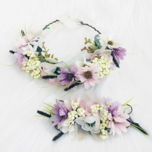 matching flower crown set