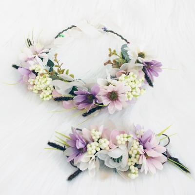 matching flower crown set