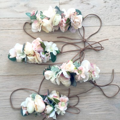 bridal party hair floral crowns