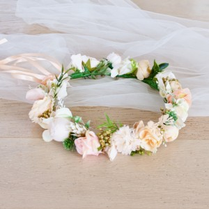 peach gold flower headband