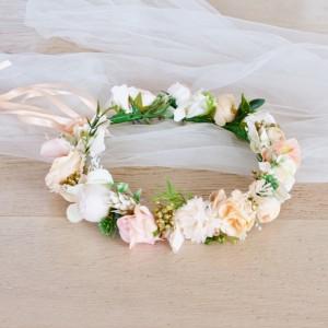 peach gold flower headband