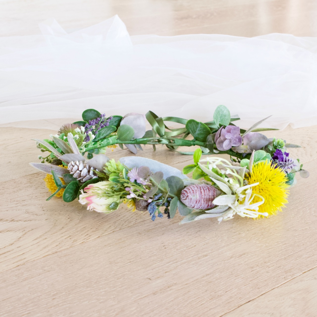protea native floral crown bride