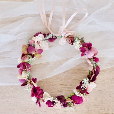 faux flowers hair burgundy wedding