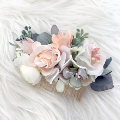bridal bridesmaid hair floral comb silk fake