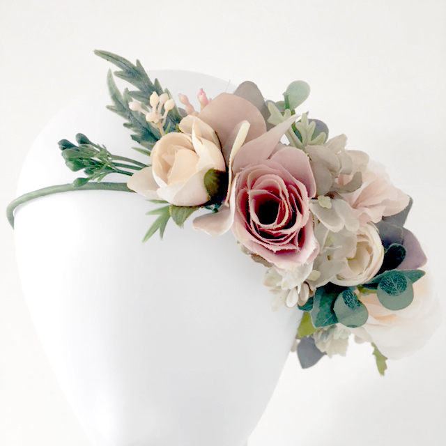 blush nude leafy silk flower crowns Melbourne