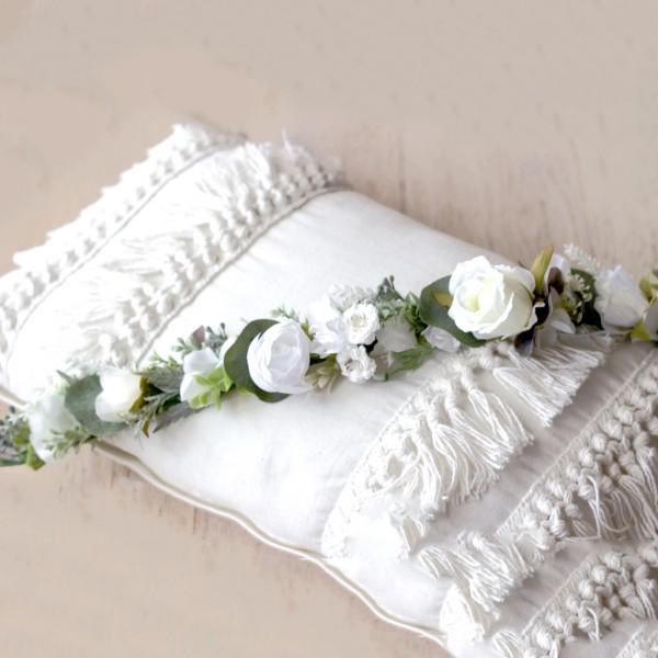 white bridal crown