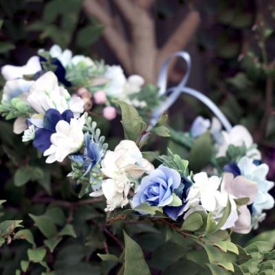 blue hair floral crown