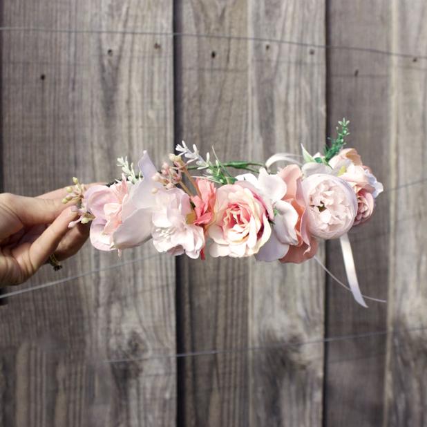 peach pink flower crown