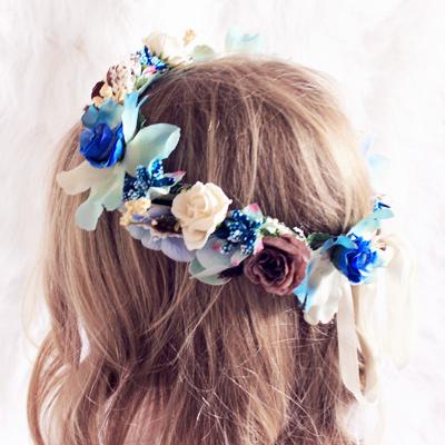 girls wedding blue flower crown