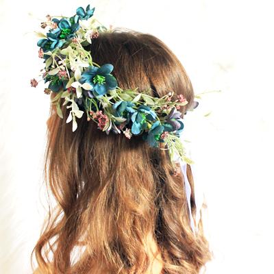 teal green fake floral wreath hair