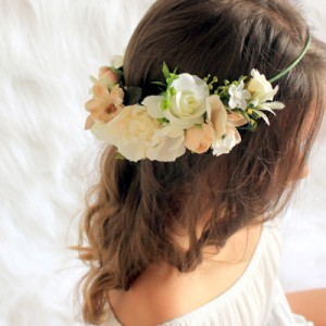 womens wedding side ivory floral crown